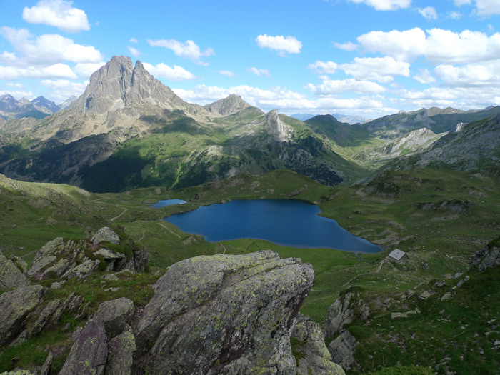 A view of The Lac d´Ayous and Pic du Midi, hiking GR10 in the Pyrenees 2009