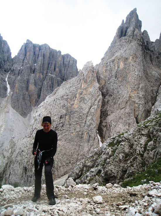 Smiling after my first via farrata climbing, On our way to Rifugio Boe