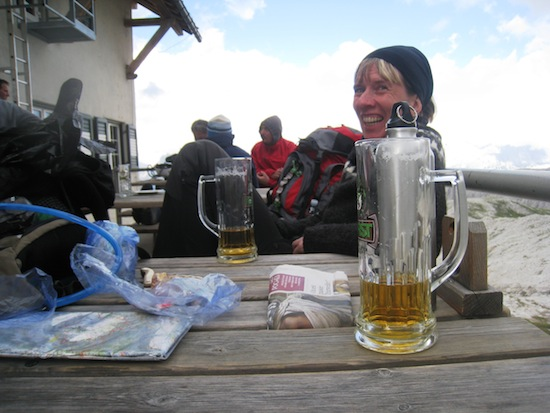 Me drinking beer outside the rifugio