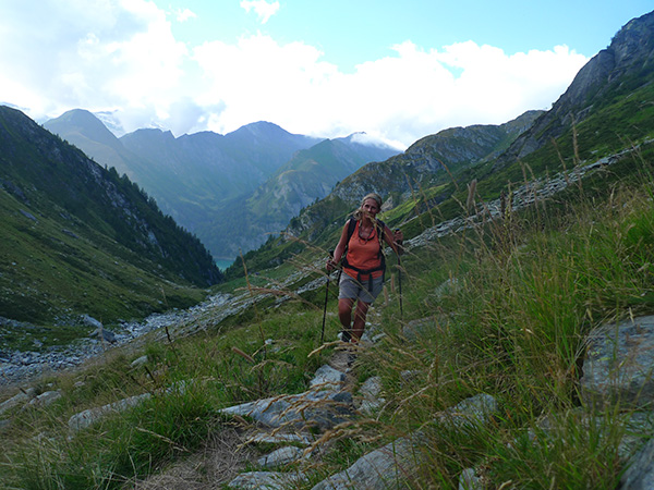 Claudia walking up the Valle Scaradra