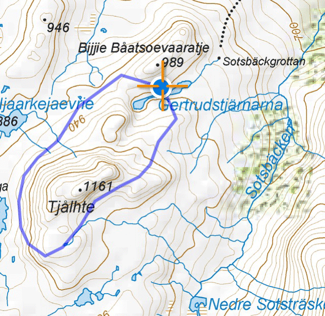 a map over the route of the day